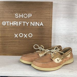 Sperry gold metallic and cork leather boat shoes